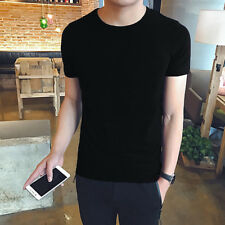 Men Summer Blank Casual Crew Neck Solid Workout Short Sleeve T-shirt Tee Vest