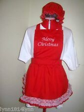LADIES/GIRLS MERRY CHRISTMAS APRONS with OVERLACE FRILL & MOP TOP HAT All colors