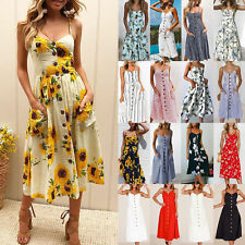 AU Summer Womens Ladies Buttons Beach Party Midi Dress Holiday Floral Sundress