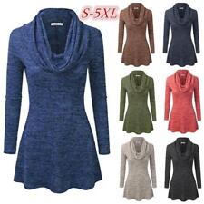 Women's Fashion Plus Size Cowl Neck A-Line Tunic Sweater Dress Solid Blouse Top