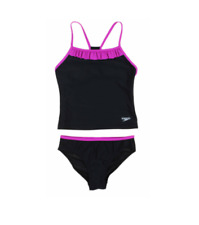 Speedo Girls Black Pink Ruffle Tankini Swimsuit 2 Piece Racer Back Size 12 or 14