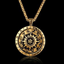 Retro Vintage Womens & Mens Constellation Pendant chain Necklace Stainless Steel