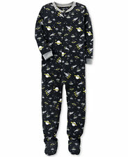 New Carters Boys 1-Piece Space-Print Glow-In-The-Dark Footed Fleece Pajamas 7