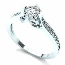 1ctw Ladies 14K Gold Round Not Enhanced Diamond Accent Solitaire Engagement Ring