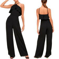 Womens Tube Top Halter Romper Ruffle Summer Casual Backless Straight Jumpsuit