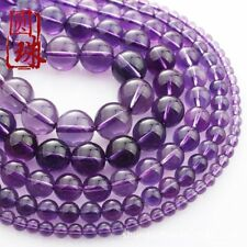 Wholesale 1Strand Nice Natural Purple Crystal Round Loose Beads 15.5inch HH3597