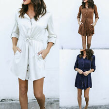 Women Fashion Slim Dress New Bandage Shirt Casual One-Piece Dress Skirt Dress、UK