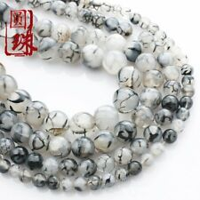 1Strand Black and White Dragon Veins Agate Round Loose Beads 15.5inch HH3614