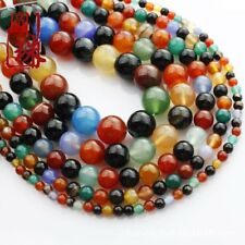 Wholesale 1Strand Beautiful Multicolor Agate Round Loose Beads 15.5inch HH3627