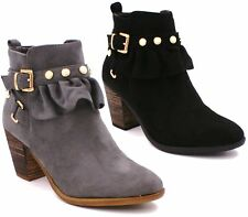 LADIES WOMENS CHELSEA COWBOY BIKER BUCKLE ZIP ANKLE BLOCK HEEL BOOTS SHOES SIZE
