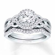 Sterling Silver .925 Vintage Round Halo Engagement Ring Wedding Band Set 5-10