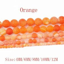 1Strand Nice Orange Coin Dragon Veins Agate Round Loose Beads 15.5inch HH3643