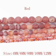 1Strand Beautiful Red Coin Dragon Veins Agate Round Loose Beads 15.5inch HH3642