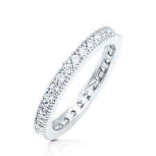Sterling Silver 925 CZ Round Vintage Design Eternity Wedding Band Ring Sz 4-10