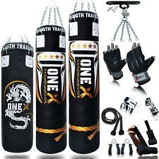 Filled Heavy Punch Bag Gloves,Chains,Bracket,Kick 15 Piece Boxing 3ft/4ft/5ft