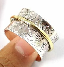Vintage Hammered Ring,Spinner Silver Ring,Gold Plated Silver Ring,Cocktail Ring