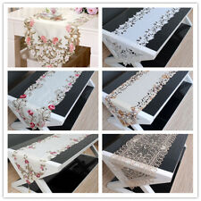 Oval Embroidery Lace Dining Room Table Runner Home Party Decor 15X70inch Floral