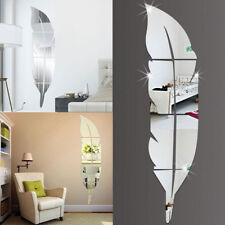 Removable Feather Mirror Wall Stickers Decal Art PVC Home Room Decoration DIY