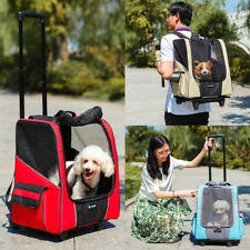 MagiDeal Pet Dog Trolley Carrier Stroller Travel Backpack Wheel Cage Crate Cart
