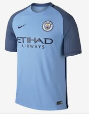 NIKE 2016 17 Manchester City Sky Navy Blue Home S/S Soccer Jersey NWT Mens L XL