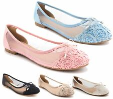NEW WOMENS FLAT LACE MESH PUMPS LADIES BALLET BALLERINA DOLLY SHOES SIZE