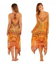Burnt Orange & Gold Boho Oriental Print Summer Holiday Beach Slip on Tunic Dress