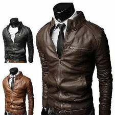 Mens Fashion Jackets Collar Slim Biker Motorcycle PU Leather Jacket Coat Outwear
