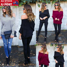 AU Womens Knitwear Sweater Off Shoulder Batwing Loose Jumper Pullover Knit Tops