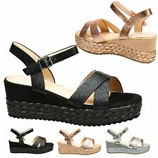 Anjali Womens Low Mid Heels Platforms Wedges Open Toe Sandals Ladies Shoes Size