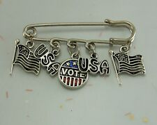 POLITICAL Iron Brooch VOTE Democratic Republican USA Flag Donkey Elephant Charms