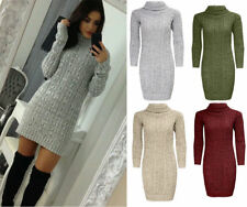 Ladies Womens Cable Knitted Polo Neck Jumper Long Sleeve Stretch Dress UK 8-22