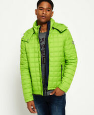 New Mens Superdry Hooded Box Quilt Fuji Jacket Sport Code Lime