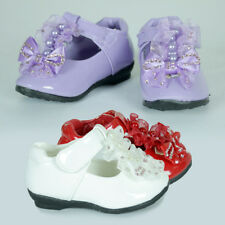 Girls Shiny Formal Shoe Flat Wedding Party AU Sz 4.5-11 White Lilac Purple Red