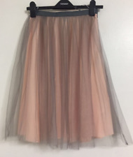 NEW Ex Topshop Grey Pink Pleated Mesh Midi Party Skater A-line Skirt Size 6-16