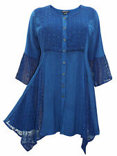 Womens plus size 18 20 22 24 26 28  top BLUE longer lngth romantic 3/4 sleeves