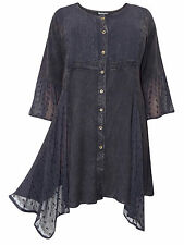 Womens plus size 18 20 22 24  top BLACK longer length romantic 3/4 sleeves lace