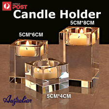 3 Size/SET Romantic Clear Crystal Glass Cube Candle Holder Stand Home Decor AU