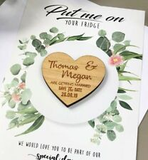 Wedding Save The Dates Cards Personalised Wooden Magnet Fridge Rustic Invitation