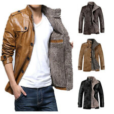 Men Slim Winter Coat Overcoat Biker Motorcycle Jacket Warm PU Leather Outwear
