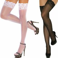 Sheer Queen Thigh High Hi Hose Stockings Nylons Hosiery Lace Stay Up Top Plus