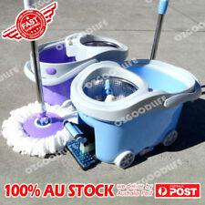 NEW 360 Mop Spinning Spin-Dry Stainless Steel Bucket 2 Mop Head Metal step