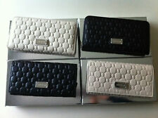 OROTON ROCHE BLACK / IVORY LEATHER LARGE CLUTCH ZIP AROUND WALLETS RRP$225
