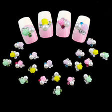 10 x 3D Rose Flower Faux Pearl Rhinestone Nail Art Tips Studs Manicure Sweet