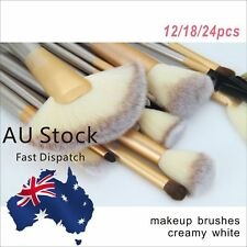 24/18/12pcs Professional Cosmetic Champagne Makeup Brushes Set With Leather Case