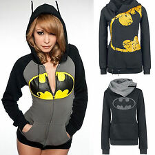 Women Batman Print Hoodie Sweatshirt Hooded Coat Jacket Zip Jumper Pullover Top