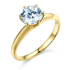 14k SOLID Gold 1 Ct. Round Cut Solitaire Cubic Zirconia Wedding Engagement Ring