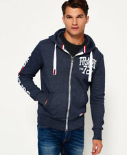 New Mens Superdry Trackster Zip Hoodie Navy Slub