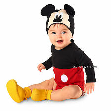 Mickey Mouse Baby Bodysuit Dress Up Costume W/ Ears Hat Disney Store 0-12 Months