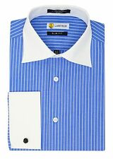 Labiyeur Slim Fit French Cuff Spread Collar Blue/White Striped Dress Shirt
