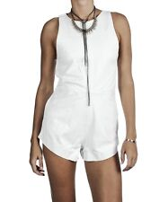 NEW ONE TEASPOON GENUINE LEATHER JUMPSUIT S 4  8  $300 WHITE WOMEN SHORTS